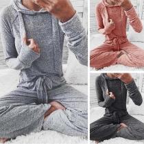 Fashion Long Sleeve Hooded Sweatshirt + Pants Two-piece Set