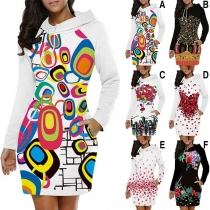 Fashion Long Sleeve Hooded Slim Fit Printed Thin Sweatshirt Dress