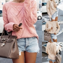 Fashion Solid Color Long Sleeve Round Neck Hollow Out Sweater