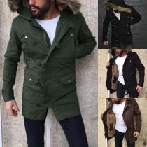 Fashion Faux Fur Spliced Hooded Plush Lining Man's Coat