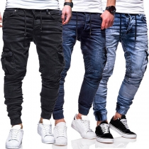 Fashion Middle Waist Side-pocket Man's Jeans