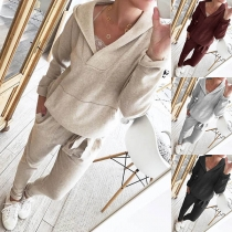 Fashion Solid Color V-neck Hooded Sweatshirt + Pants Two-piece Set