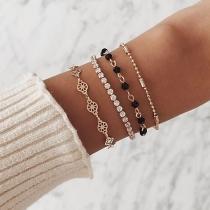Fashion Rhinestone Inlaid Bracelet Set 4 pcs/Set