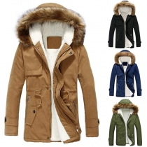 Fashion Solid Color Faux Fur Spliced Hooded Plush Lining Couple Coat