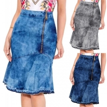 Fashion High Waist Irregular Fishtail Hem Denim Skirt