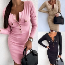 Simple Style Long Sleeve Round Neck Front-button Slim Fit Dress