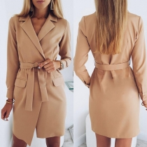 OL Style Long Sleeve Slim Fit Blazer Coat with Waist Strap