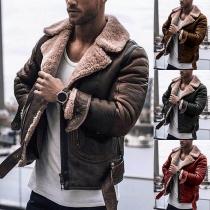 Retro Style Faux Cashmere Spliced Long Sleeve PU Leather Jacket