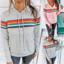 Fashion Colorful Striped Spliced Long Sleeve Hooded Sweatshirt