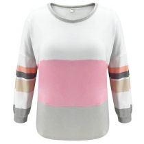 Fashion Contrast Color Long Sleeve Round Neck Loose T-shirt