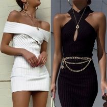 Sexy Off-shoulder Crossover Halter Tight Dress