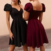 Elegant Solid Color Puff Sleeve V-neck High Waist Dress