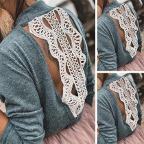 Sexy Lace Spliced Backless Long Sleeve Mock Neck Top