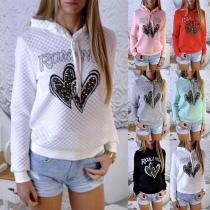 Fashion Heart Pattern Long Sleeve Hooded Sweatshirt