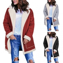 Fashion Contrast Color Long Sleeve Plush Lining Coat