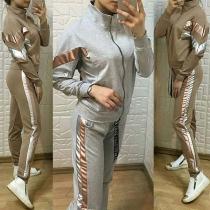 Fashion Contrast Color Stand Collar Sweatshirt Coat + Pants Sports Suit