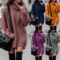 Fashion Solid Color Long Sleeve Turtleneck Loose Sweater Dress