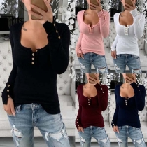 Fashion Solid Color Long Sleeve Round Neck Slim Fit T-shirt