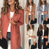 OL Style Long Sleeve Solid Color Blazer Coat