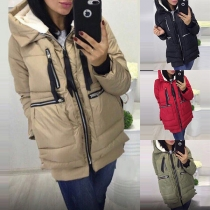 Fashion Solid Color Zipper Pocket Hooded Padded Coat