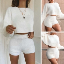 Fashion Solid Color Long Sleeve Top + High Waist Tops Two-piece Set