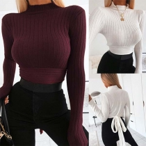 Sexy Long Sleeve High Collar Lace-up Hem Slim Fit Crop Top