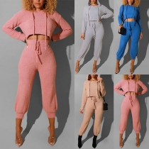 Sexy Long Sleeve Hooded Crop Top + High Waist Pants Two-piece Set