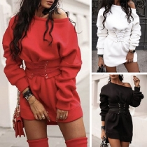 Fashion Solid Color Round Neck Lace-up Slim Fit Sweatshirt Dress