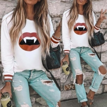 Casual Style Lip Printed Long Sleeve Round Neck Sweatshirt