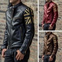 Fashion Long Sleeve Stand Collar Man's PU Leather Jacket