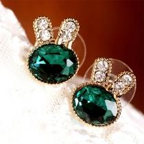 Cute Style Rhinestone Inlaid Rabbit Shaped Stud Earrings