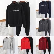 Fashion Plush Lining Stand Collar Sweatshirt + Pants Sports Suit