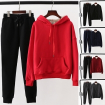 Fashion Solid Color Faux Cashmere Lining Hoodie + Pants Two-piece Set