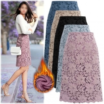Fashion High Waist Slim Fit Plush Lining Lace Skirt