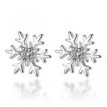 Fashion Rhinestone Inlaid Snowflake Shaped Stud Earrings