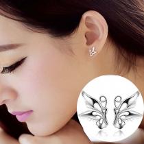 Fashion Silver-tone Butterfly Shaped Stud Earrings