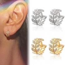 Fresh Style Rhinestone Inlaid Leaf Shaped Stud Earrings