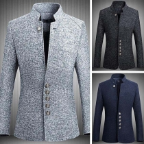 Fashion Long Sleeve Stand Collar Single-breasted Man's Suit Coat