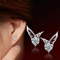 Fashion Rhinestone Inlaid Wing Shaped Stud Earrings