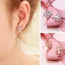 Fashion Leaf Clover Shaped Stud Earrings