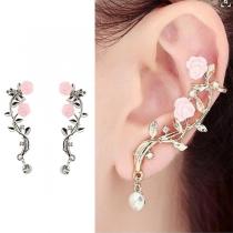 Fashion Rhinestone Inlaid Rose Tree Branch Shaped Stud Earrings