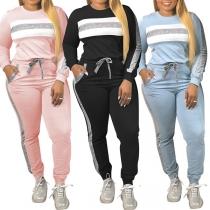Fashion Contrast Color Round Neck Sweatshirt + Pants Two-piece Set