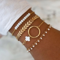 Fashion Gold-tone Beaded Bracelet Set 4 pcs/Set