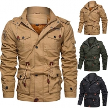 Fashion Solid Color Long Sleeve Hooded Plush Lining Man's Coat