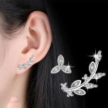 Fashion Rhinestone Inlaid Leaf Shaped Asymmetric Stud Earrings