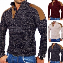 Fashion Contrast Color Long Sleeve Stand Collar Man's Knit Top