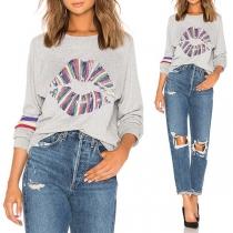 Fashion Colorful Lip Printed Long Sleeve Round Neck Sweatshirt