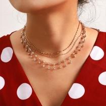 Fashion Rhinestone Inlaid Multi-layer Tassel Necklace