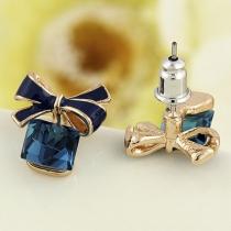 Fashion Rhinestone Spliced Bow-knot Stud Earrings