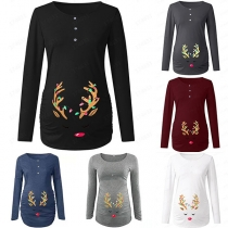 Cute Antler Printed Long Sleeve Round Neck Maternity T-shirt